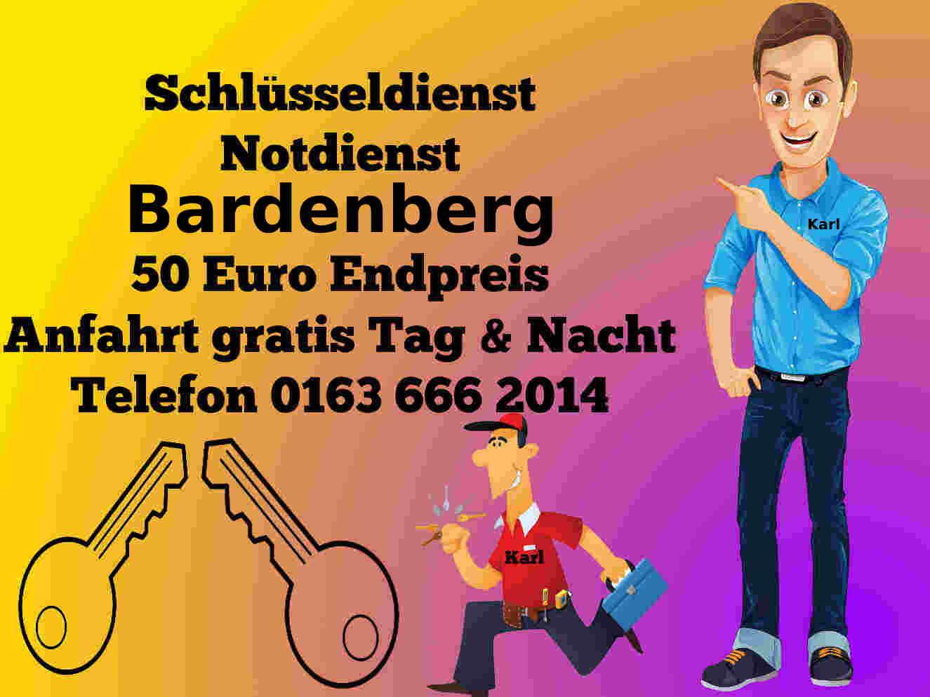 Schlüsseldienst Notdienst Bardenberg - 50 Euro Endpreis - Tür öffnen zum Festpreis Tag und Nacht