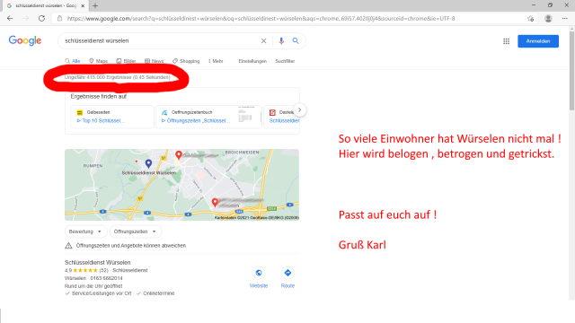 Schlüsseldienst - Schlüsselnotdienst Google Ergebnisse Würselen